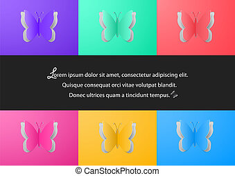 Colorful paper butterfly cutouts