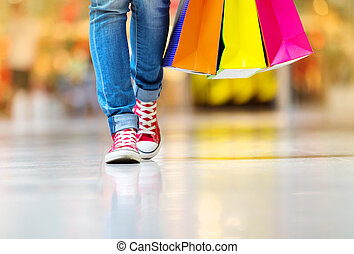 Girl with shopping bags - Shopping time, young teenage girl...