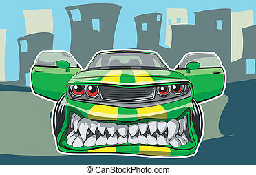 Angry car - Vector illustration of a sports car in a cartoon...