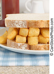 Chip Butty potato chips or fries in a sandwich