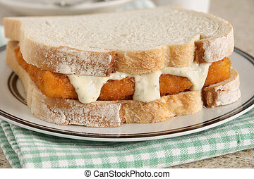 Fish Finger Sandwich with tartare sauce a popular British...