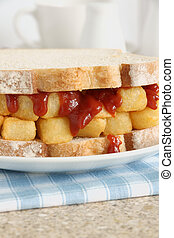 Chip Butty British comfort food chips or fries in a sandwich