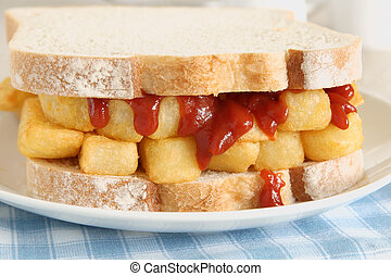 Chip Butty comfort food potato chips or fries in a sandwich