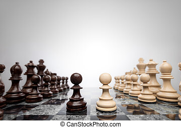 Face to face like wall and axe. - First move: two pawns...