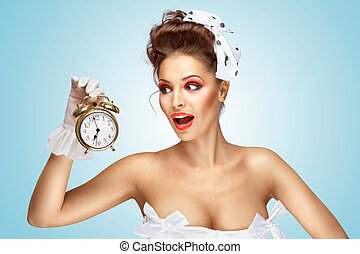 She is always late. - A beautiful vintage pin-up girl in a...