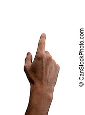 Hand with index finger, isolated on white background