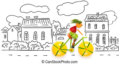Fruity cyclist - Fruits and vegetables in the shape of a...