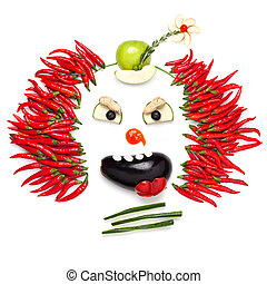 Chilli clown. - A creative food concept demonstrating a...