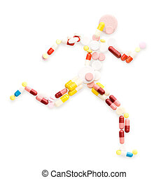 Running fast - Doping drugs and pills in the shape of an...