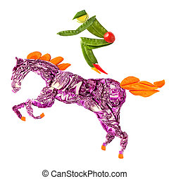 Horse rider - A food concept of a horse rider made of fruits...