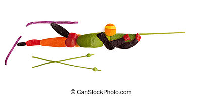 Marksman. - Fruits and vegetables in the shape of a shooting...