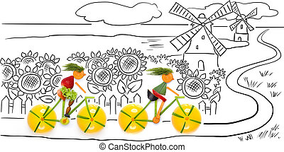 Riding in sunflowers - Fruits and vegetables in the shape of...