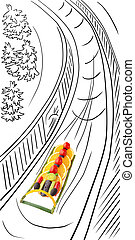 Bobsled at Winter Olympics - Fruits and vegetables in the...