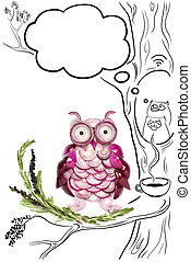 After nightlife. - Food concept of funny owls made of onions...