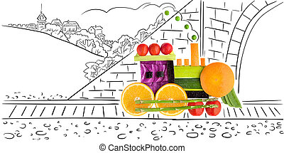 Fruity loco. - Fruits and vegetables in the shape of a...