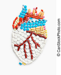Drug beat. - Drugs and pills in the shape of a human heart.