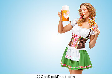 Serving at Oktoberfest. - Young sexy Oktoberfest waitress...