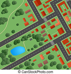 streets and houses - Plan of the city with streets and...