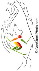 Slalom between poles - Fruits and vegetables in the shape of...
