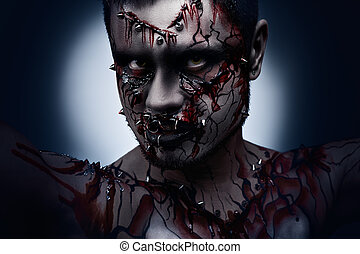 Angry and bloody - A creepy halloween concept of a dark...