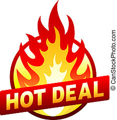 Hot deal fire badge, price sticker, flame - Isolated on...