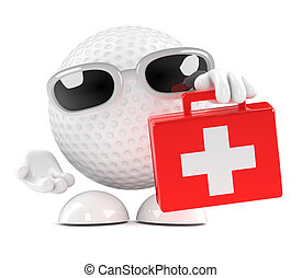 3d Golf ball with first aid kit - 3d render of a golf ball...