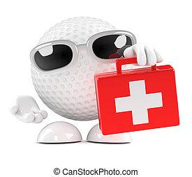 3D, golfe, bola, primeiro, ajuda, equipamento