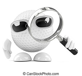 3d Golf ball with magnifying glass - 3d render of a golf...
