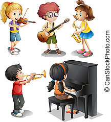 Kids with musical talents - Illustration of the kids with...