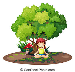 A girl doing yoga under the tree