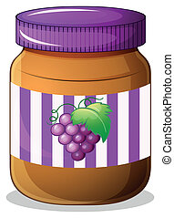 A jar of grape jam - Illustration of a jar of grape jam on a...