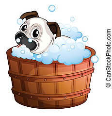 A cute bulldog inside the bathtub - Illustration of a cute...