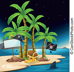 A pirate island with an empty signboard - Illustration of a...