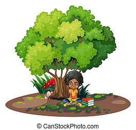 A young girl under the tree beside her books