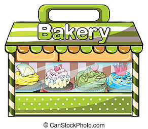 A green bakery store - Illustration of a green bakery store...