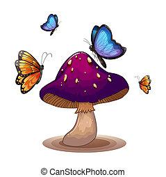 A big mushroom with butterflies - Illustration of a big...