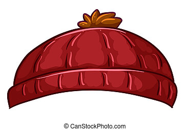 A red bonnet - Illustration of a red bonnet on a white...