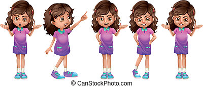 A cute little girl - Illustration of a cute little girl on a...