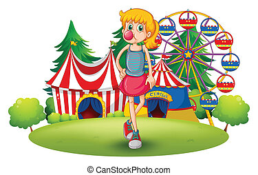 A tall young girl at the carnival