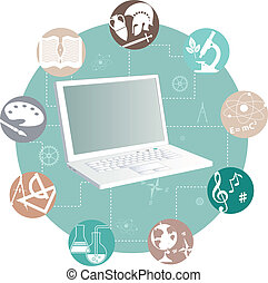 Online learning - Laptop and study subjects, vector...
