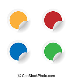 Round colored stickers set. Blank