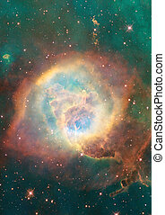 Being shone nebula - Far being shone nebula and star field...