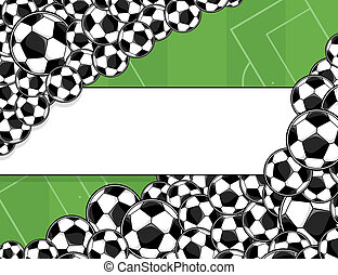 soccer playingfield background - soccer balls border on...