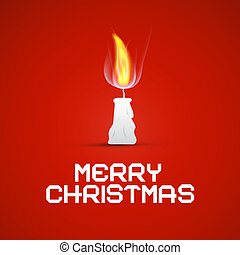 Vector Red Christmas Template with Burning Candle