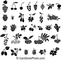 Berries set - Silhouette black-and-white image of berries...