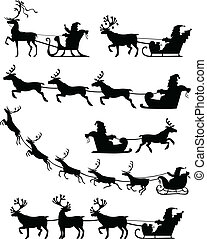Santa Claus sleigh set - Set of silhouette image of Santa...