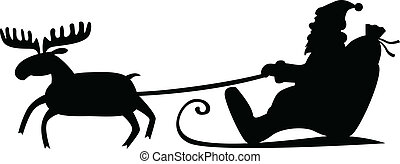 Santa Claus sleigh - Silhouette image of Santa Claus riding...