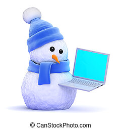 3d Snowman using a laptop - 3d render of a snowman in a blue...