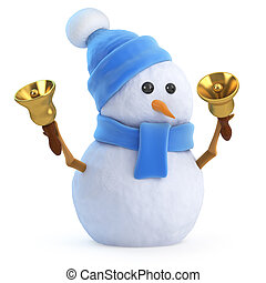 3d Snowman rings his bells - 3d render of a snowman in a...