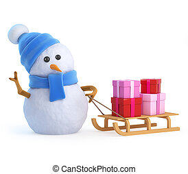 3d Snowman pulls a sleigh full of presents and gifts - 3d...
